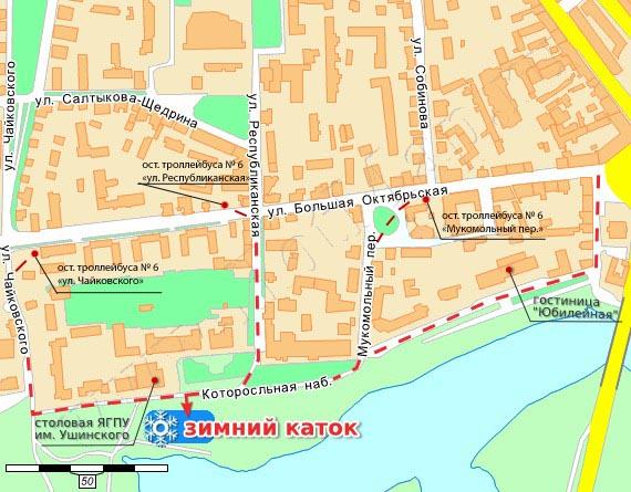 Каток на карте Ярославля